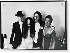 Bowie, Ono, Lennon, & Flack At The Acrylic Print by Fred W. McDarrah
