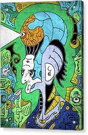 Acrylic Print featuring the digital art Brain-man by Sotuland Art