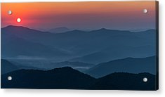 Acrylic Print featuring the photograph Brasstop Bald Sunrise Panorama by Andy Crawford