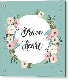 Brave Heart - Boho Chic Ethnic Nursery Art Poster Print Acrylic Print