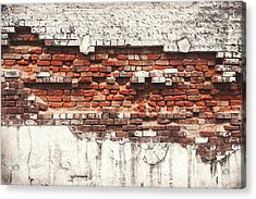 Brick Wall Falling Apart Acrylic Print by Ty Alexander Photography