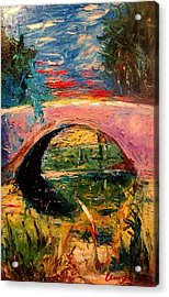Acrylic Print featuring the painting Bridge At City Park by Amzie Adams