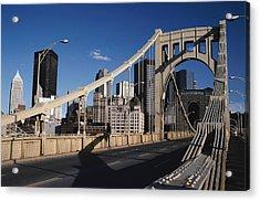 Bridge In Pittsburgh Acrylic Print by Jack Hollingsworth