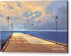 Bridge To The Sea Against Beautiful Acrylic Print