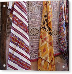 Bright Colored Patterns On Throw Rugs In The Medina Bazaar  Acrylic Print