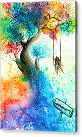 Bright Colorful Fantasy Painting Of A Acrylic Print