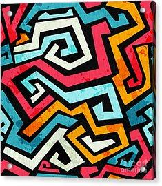 Bright Graffiti Seamless Pattern With Acrylic Print by Gudinny