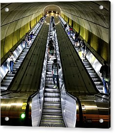 Bright Lights, Tall Escalators Acrylic Print