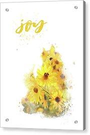 Bright Watercolor Print, Floral Wall Art, Joy Acrylic Print