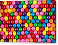 Brightly Colored Gum Balls Laying Flat Acrylic Print