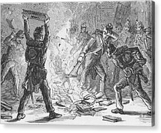 British Soldiers Burning Books In Acrylic Print by Kean Collection