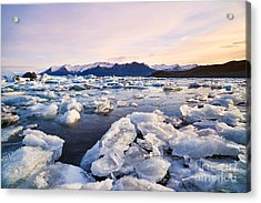 Broken Melting Pieces Of Ice At Acrylic Print