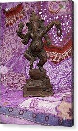 Bronze Ganesha Dancing, On Purple Acrylic Print