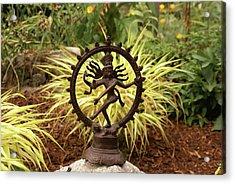 Bronze Shiva In Garden Acrylic Print