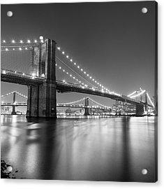 Brooklyn Bridge At Night Acrylic Print by Adam Garelick