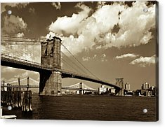 Brooklyn Bridge In Sepia Acrylic Print by Gcoles