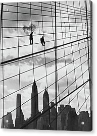 Brooklyn Bridge Workers Acrylic Print by Archive Photos