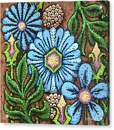 Brown And Blue Floral 1 Acrylic Print