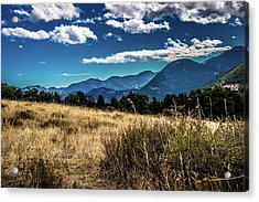 Acrylic Print featuring the photograph Brown Grass And Mountains by James L Bartlett