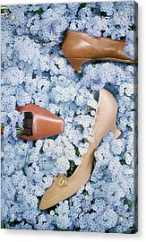 Brown Shoes In Bed Of Blue Flowers Acrylic Print by Gordon Parks