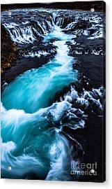 Bruarfoss In Iceland On A Rainy Day Acrylic Print