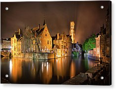 Acrylic Print featuring the photograph Brugge Belgium Belfry Night by Nathan Bush