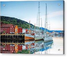 Bryggen Street With Boats In Bergen Acrylic Print