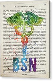 Bsn Gift Idea With Caduceus Illustration 03 Acrylic Print