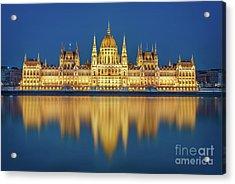 Budapest Parliament At Night Acrylic Print