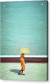 Buddhist Monk In Cambodia Acrylic Print by Kelly Loughlin Photography