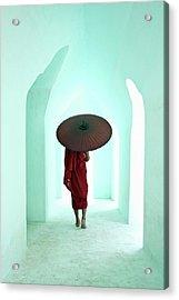 Buddhist Monk Walking Along Arched Acrylic Print