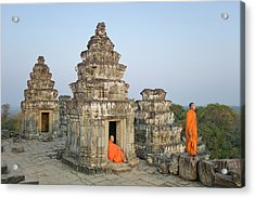 Buddhist Monks Amongst Temple Ruins Acrylic Print