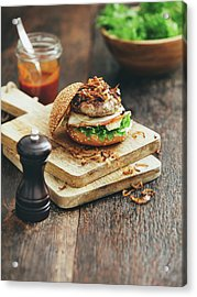 Burger With Lettuce, Tomato, Meat And Acrylic Print by Eugene Mymrin