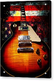 Burst Guitar American Flag Background Acrylic Print