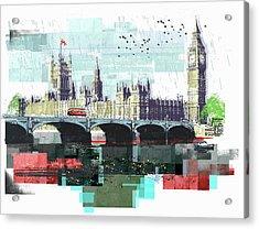Bus Crossing Westminster Bridge By Acrylic Print by Sarah Jones