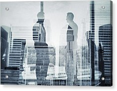 Business In The City Acrylic Print by Xavierarnau