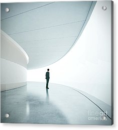 Businessman In Front Of Wide White Acrylic Print