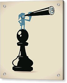 Businesswoman Standing On A Pawn Chess Acrylic Print by Alashi