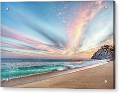 Acrylic Print featuring the photograph Cabo San Lucas Beach Wave Sunset by Nathan Bush