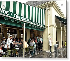 Cafe Du Monde Situation In New Orleans Acrylic Print by John Rizzuto