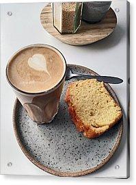 Cafe. Latte And Cake.  Acrylic Print
