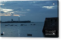 Acrylic Print featuring the photograph Caleta Cove At Dusk Between Castles Cadiz Spain by Pablo Avanzini