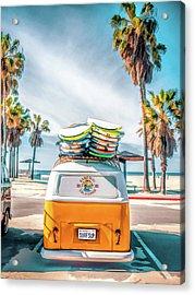 California Surfer Vw Camper Van Acrylic Print
