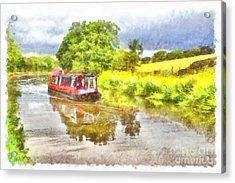 Canal Boat On The Leeds To Liverpool Canal Acrylic Print