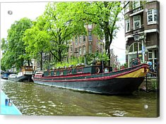 Canal Boats In Amsterdam - 2 Acrylic Print