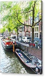 Canal Boats In Amsterdam Acrylic Print