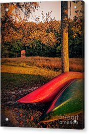 Acrylic Print featuring the pyrography Canoes And A Boathouse by Rachel Hannah