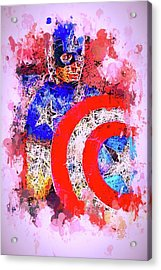 Acrylic Print featuring the mixed media Captain America Watercolor by Al Matra