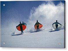 Caped Skiers Acrylic Print by Slim Aarons