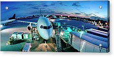 Cargo Plane Being Loaded At Night Acrylic Print